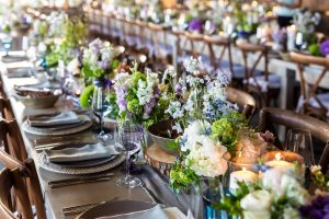 Table decor at reception at this Hamptons wedding weekend held at The Parrish Museum | Photo by Roey Yohai Studio