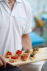 Welcome hors d'oeuvres at this Amalfi Coast wedding weekend held Lo Scoglio | Photo by Allan Zepeda
