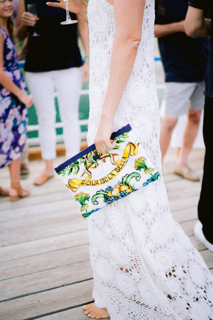 Bride details at welcome party at this Amalfi Coast wedding weekend held Lo Scoglio | Photo by Allan Zepeda