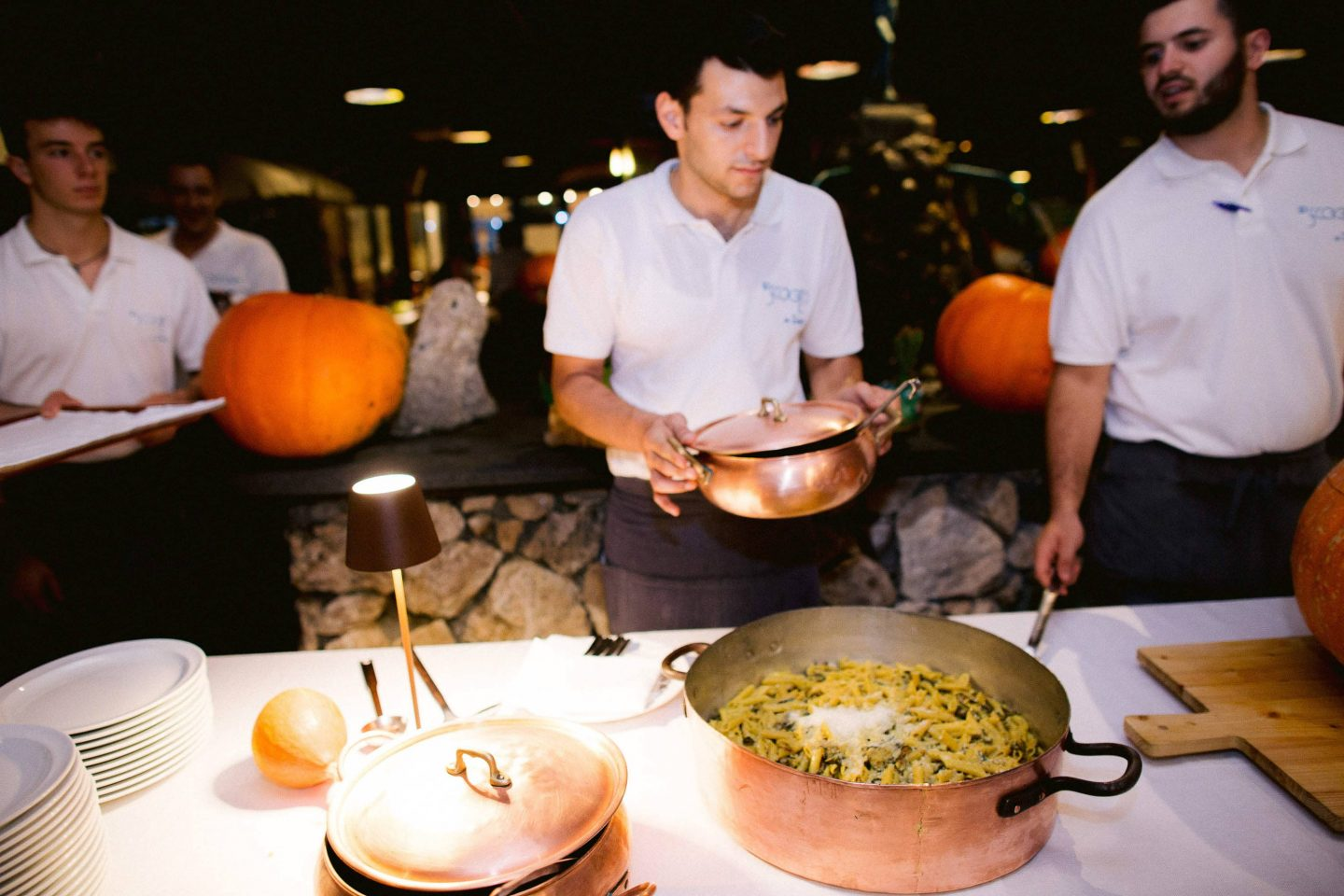 Welcome party food at this Amalfi Coast wedding weekend held Lo Scoglio | Photo by Allan Zepeda