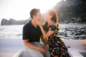 Bride and groom during sunset at this Amalfi Coast wedding weekend held Lo Scoglio | Photo by Allan Zepeda
