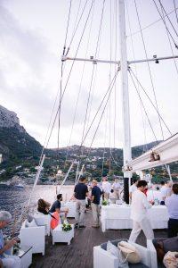 Sunset sail to Capri at this Amalfi Coast wedding weekend held Lo Scoglio | Photo by Allan Zepeda