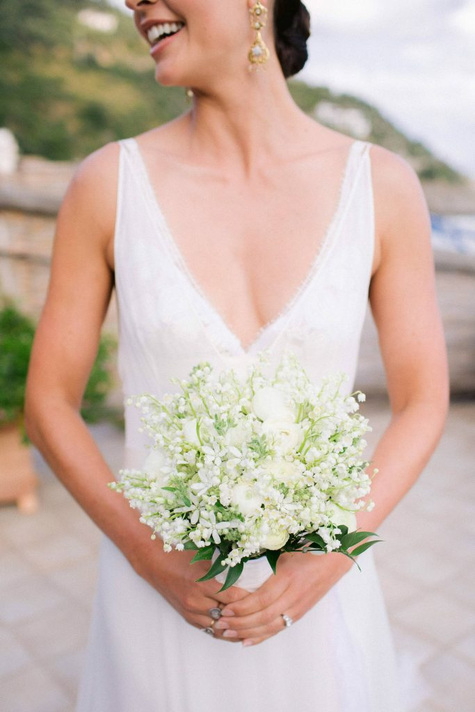 Bridal bouquet at this Amalfi Coast wedding weekend held Lo Scoglio | Photo by Allan Zepeda