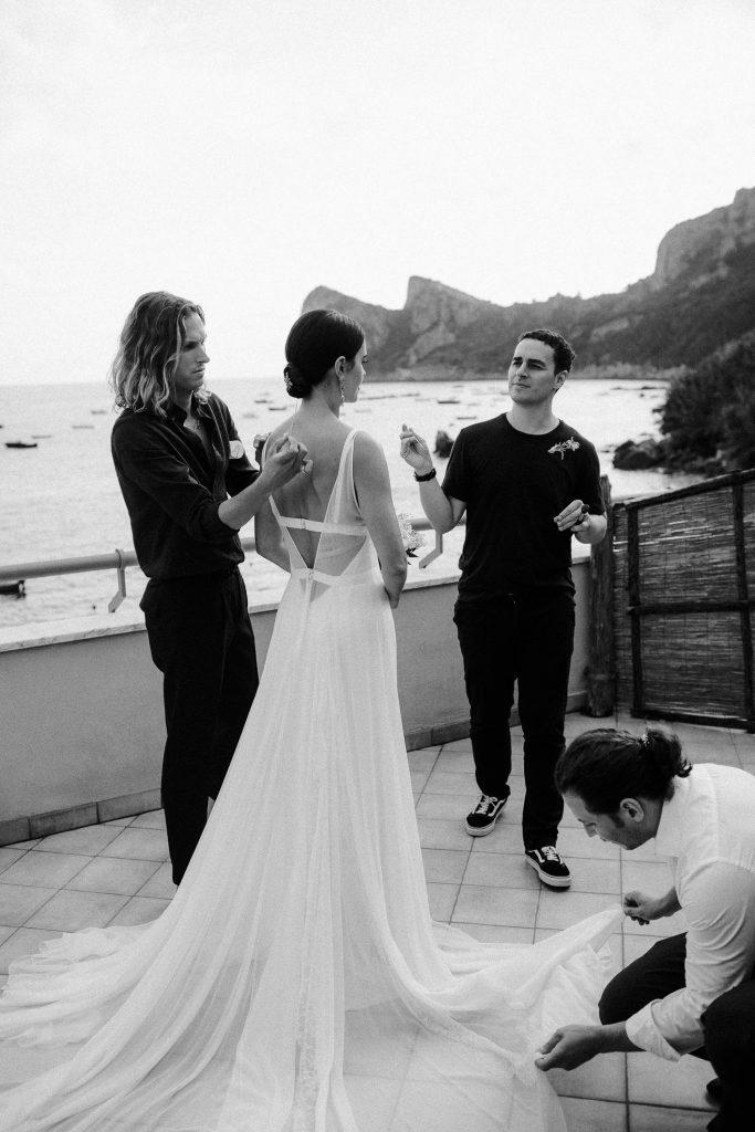 Bride getting ready at this Amalfi Coast wedding weekend held Lo Scoglio | Photo by Allan Zepeda