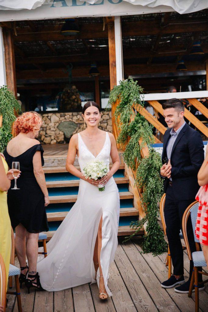 Bride's entrance during ceremony at this Amalfi Coast wedding weekend held Lo Scoglio | Photo by Allan Zepeda