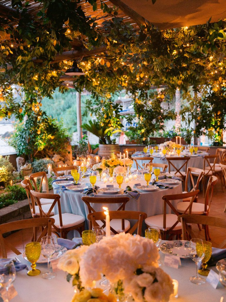 Lemon grove eception decor at this Amalfi Coast wedding weekend held Lo Scoglio | Photo by Allan Zepeda