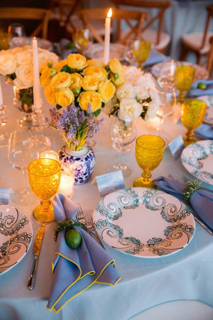 Lemon grove reception table decor at this Amalfi Coast wedding weekend held Lo Scoglio | Photo by Allan Zepeda