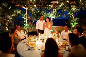Bride and groom with guests at this Amalfi Coast wedding weekend held Lo Scoglio   Photo by Allan Zepeda