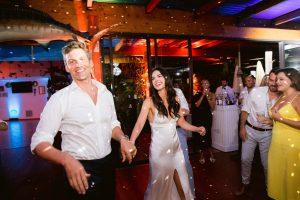 Bride and groom during reception at this Amalfi Coast wedding weekend held Lo Scoglio | Photo by Allan Zepeda