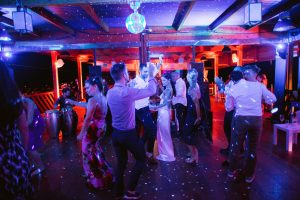 Guests dancing during reception at this Amalfi Coast wedding weekend held Lo Scoglio | Photo by Allan Zepeda