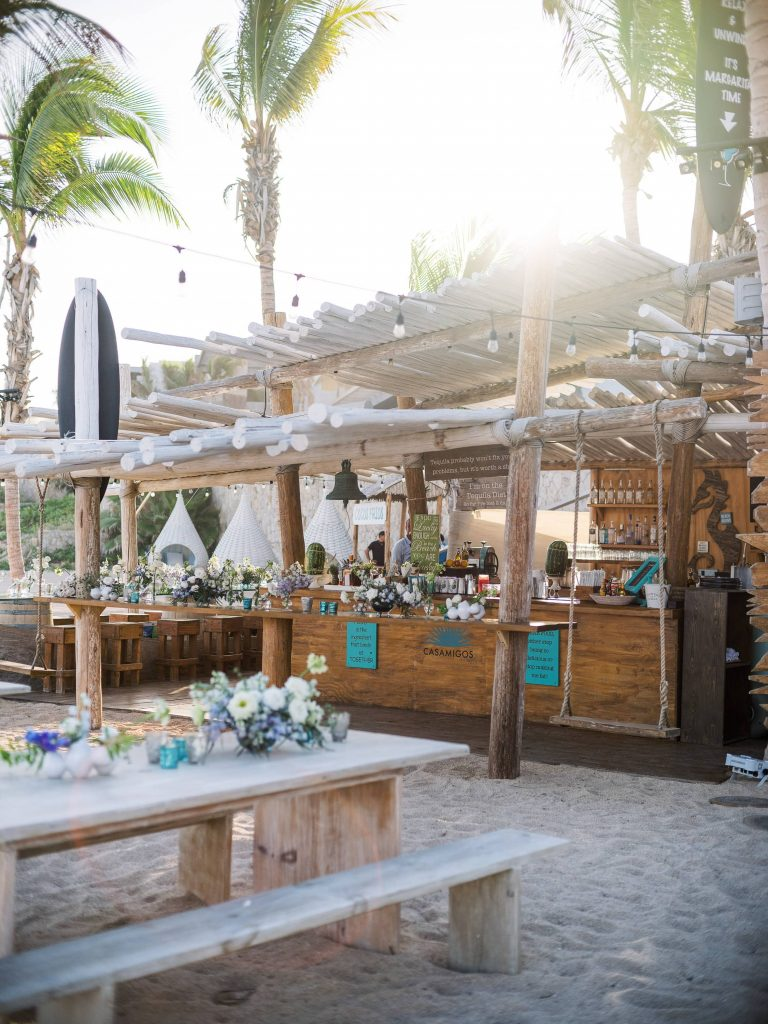 Beach bar at this Los Cabos wedding in Mexico | Photo by Allan Zepeda