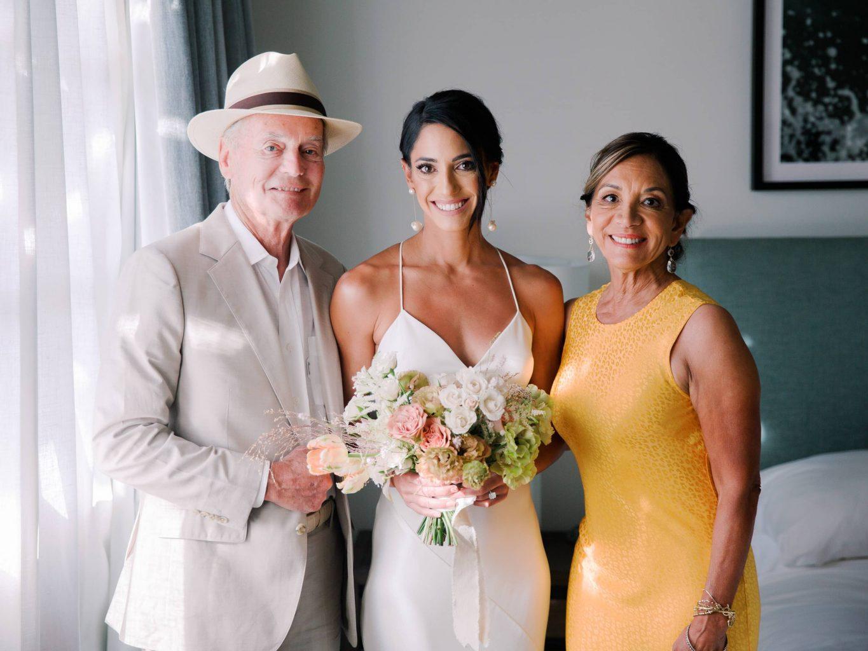 Bride and parents at this Los Cabos wedding in Mexico | Photo by Allan Zepeda