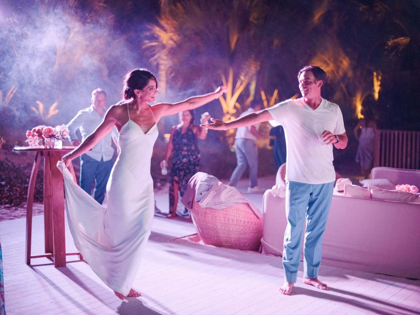 Bride and groom during reception at this Los Cabos wedding in Mexico | Photo by Allan Zepeda