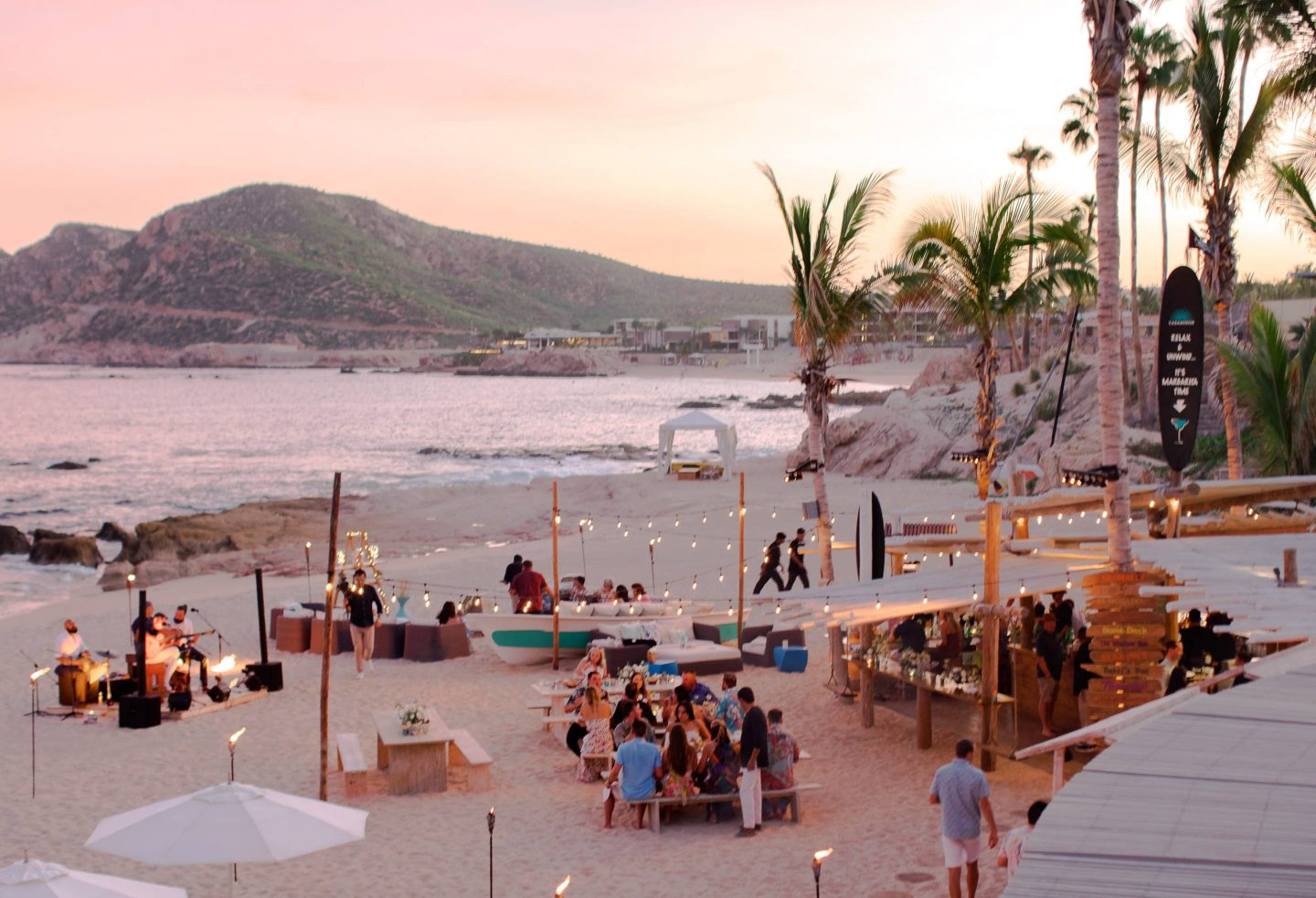 Sunset reception at this Los Cabos wedding in Mexico | Photo by Allan Zepeda