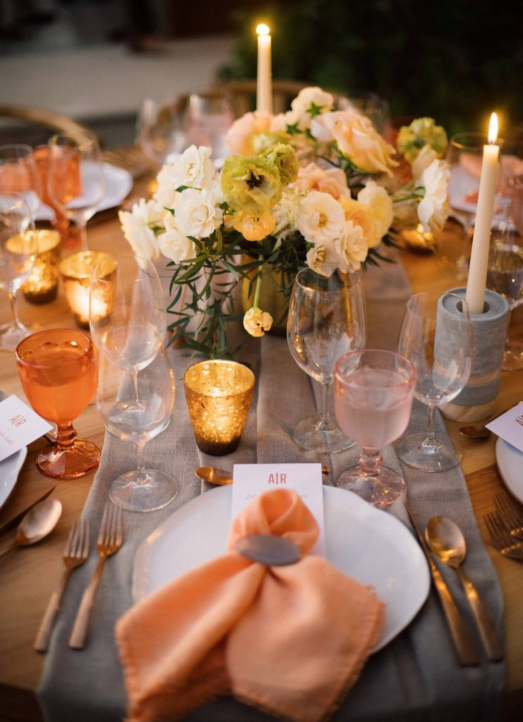 Table decor during reception at this Los Cabos wedding in Mexico | Photo by Allan Zepeda