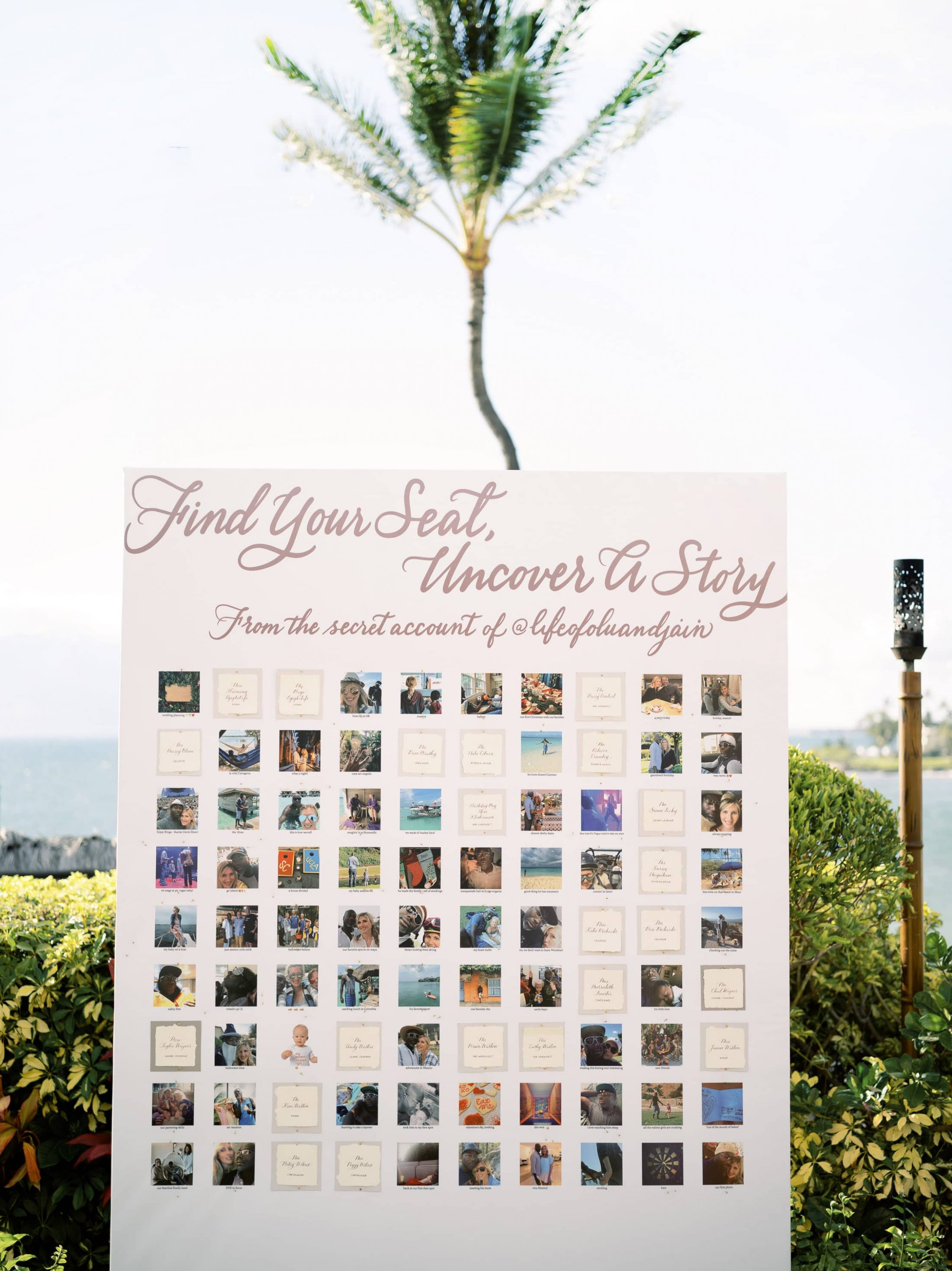 """Peel away seating chart at Maui wedding at Four Seasons Resort Maui in Wailea, Hawaii 