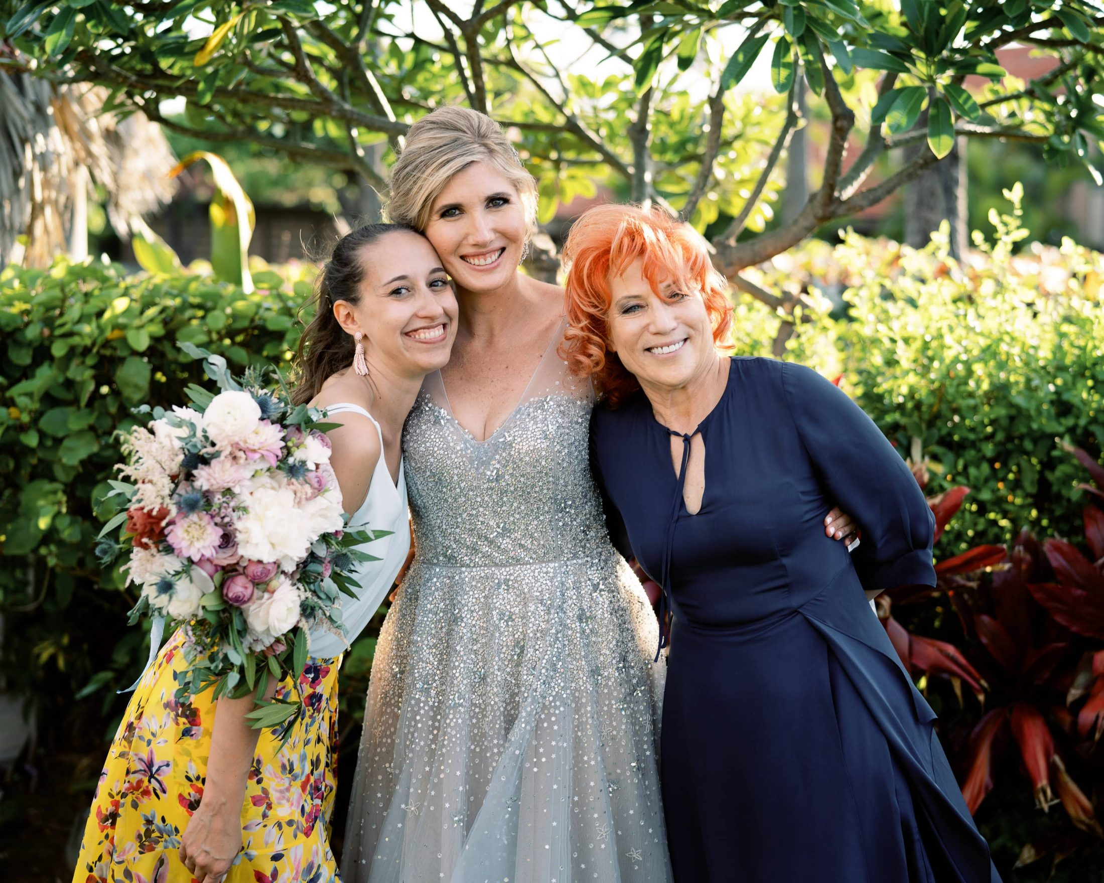 Bride with Marcy Blum and Gabrielle at Maui wedding at Four Seasons Resort Maui in Wailea, Hawaii | Photo by James x Schulze