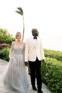 Bride and groom at Maui wedding at Four Seasons Resort Maui in Wailea, Hawaii | Photo by James x Schulze