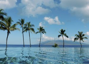 Pool overlooking Pacific Ocean at Maui wedding at Four Seasons Resort Maui in Wailea, Hawaii | Photo by James x Schulze