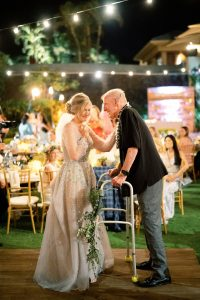 Bride and father during reception at Maui wedding at Four Seasons Resort Maui in Wailea, Hawaii | Photo by James x Schulze