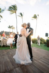 Bride and groom first dance during reception at Maui wedding at Four Seasons Resort Maui in Wailea, Hawaii | Photo by James x Schulze