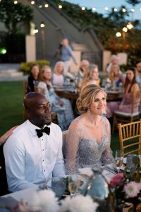 Bride and groom during reception at Maui wedding at Four Seasons Resort Maui in Wailea, Hawaii | Photo by James x Schulze