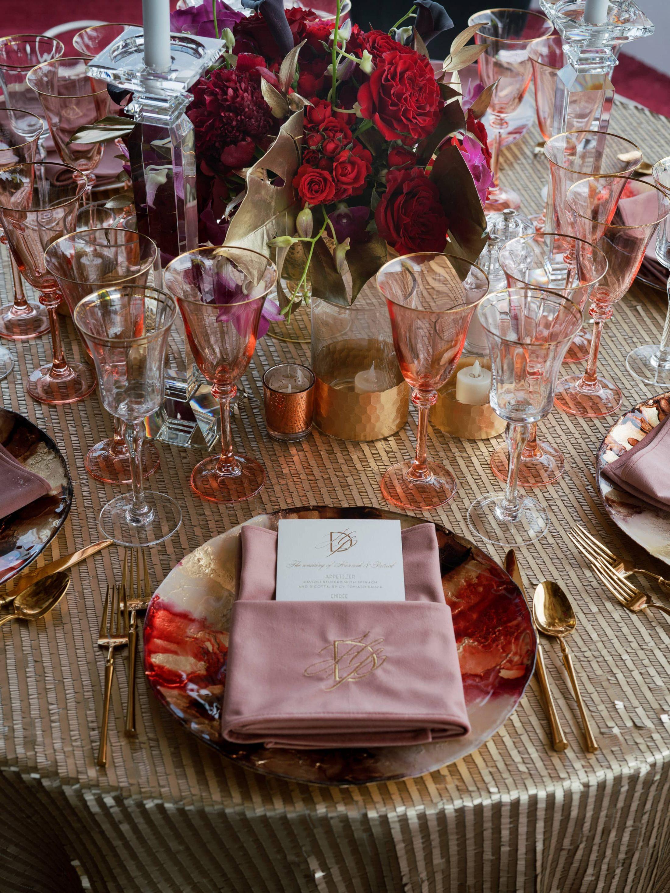 Table decor at this Miami yacht wedding | Photo by Corbin Gurkin
