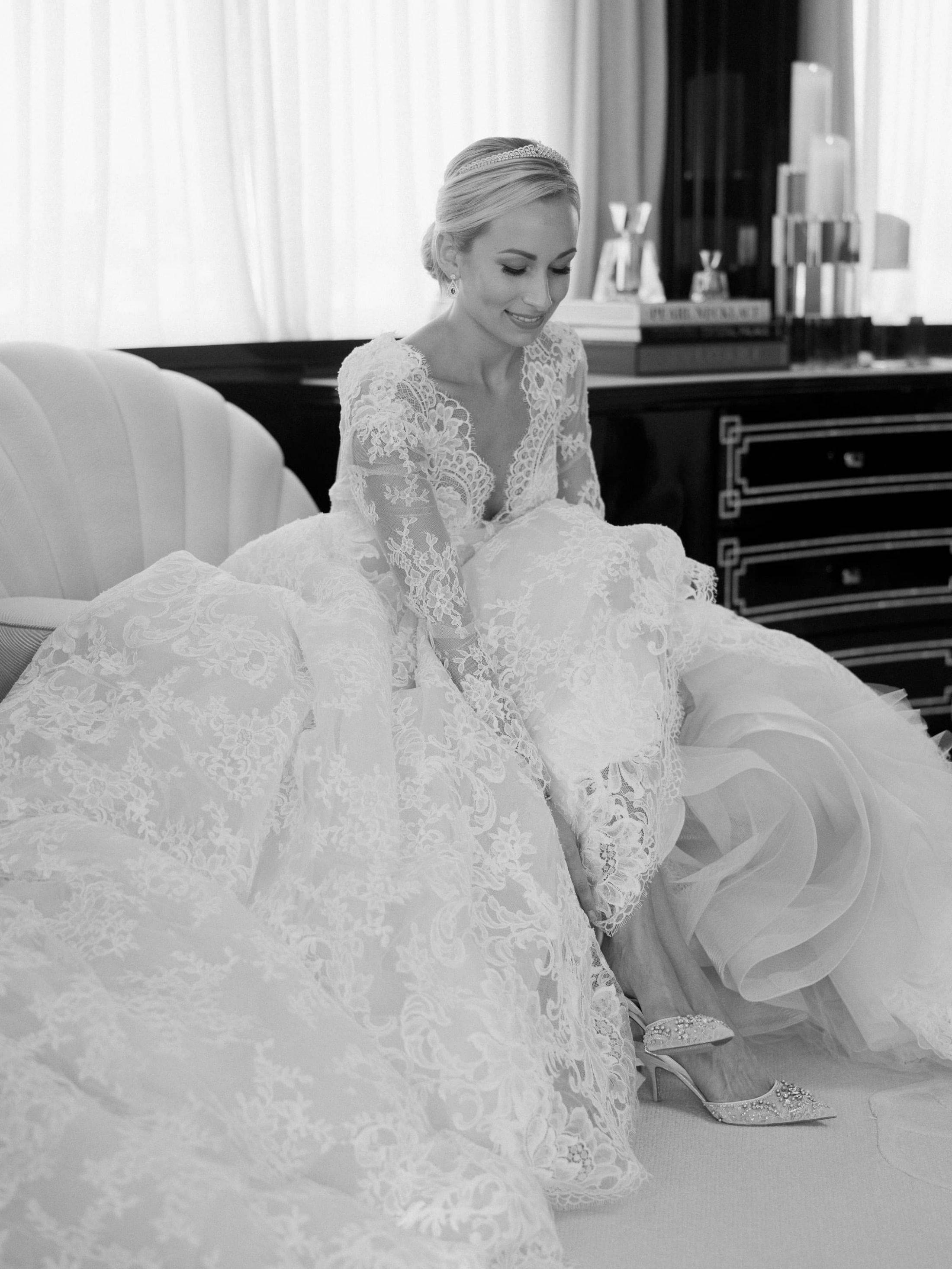Bride getting ready at this Miami yacht wedding | Photo by Corbin Gurkin