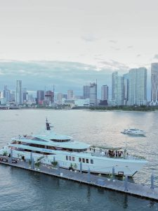 The yacht from afar at this Miami yacht wedding | Photo by Corbin Gurkin