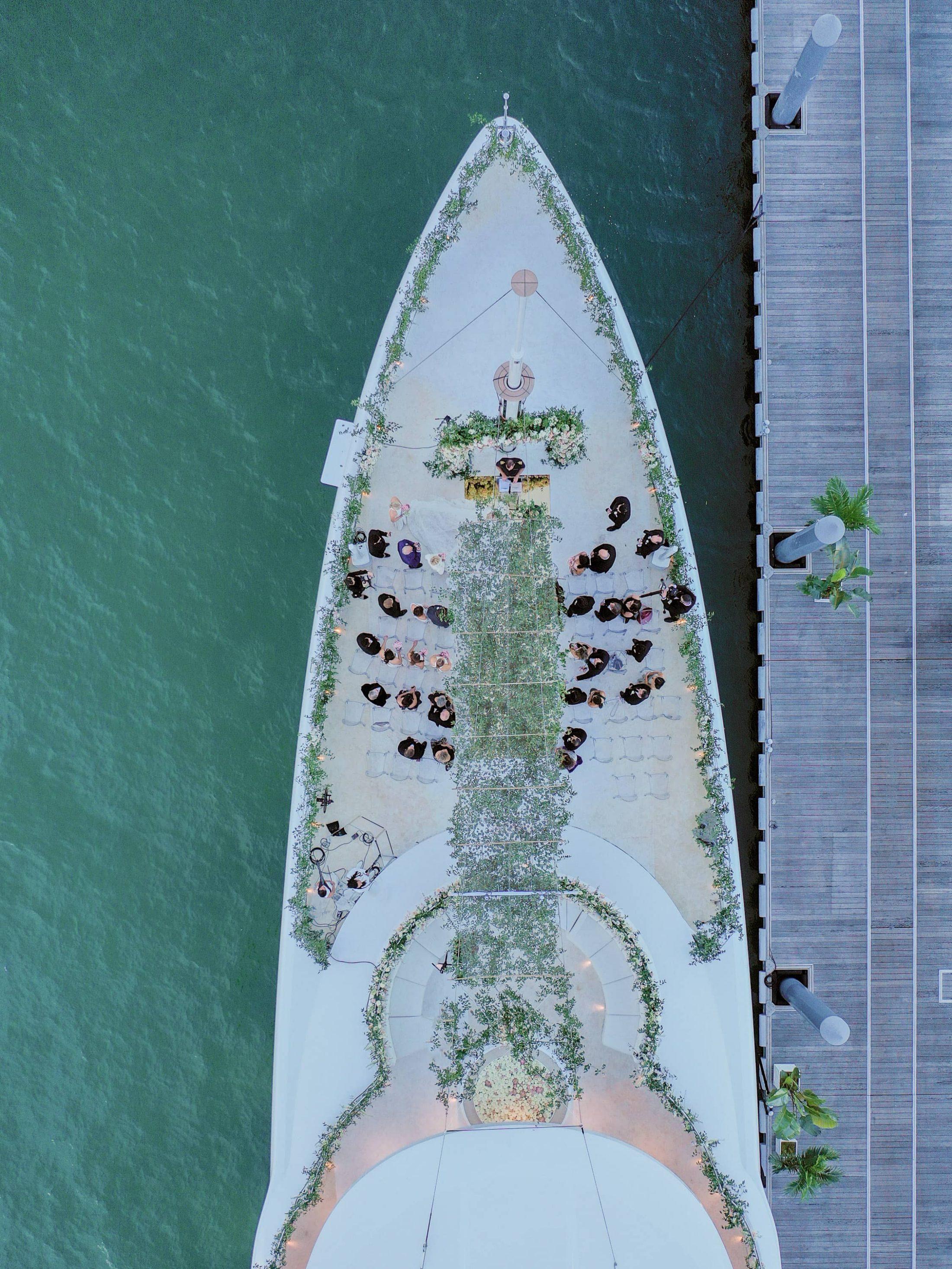 Aerial view of this Miami yacht wedding | Photo by Corbin Gurkin