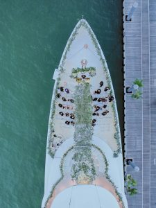Aerial view of this Miami yacht wedding | Photo by Corbin Gurkin