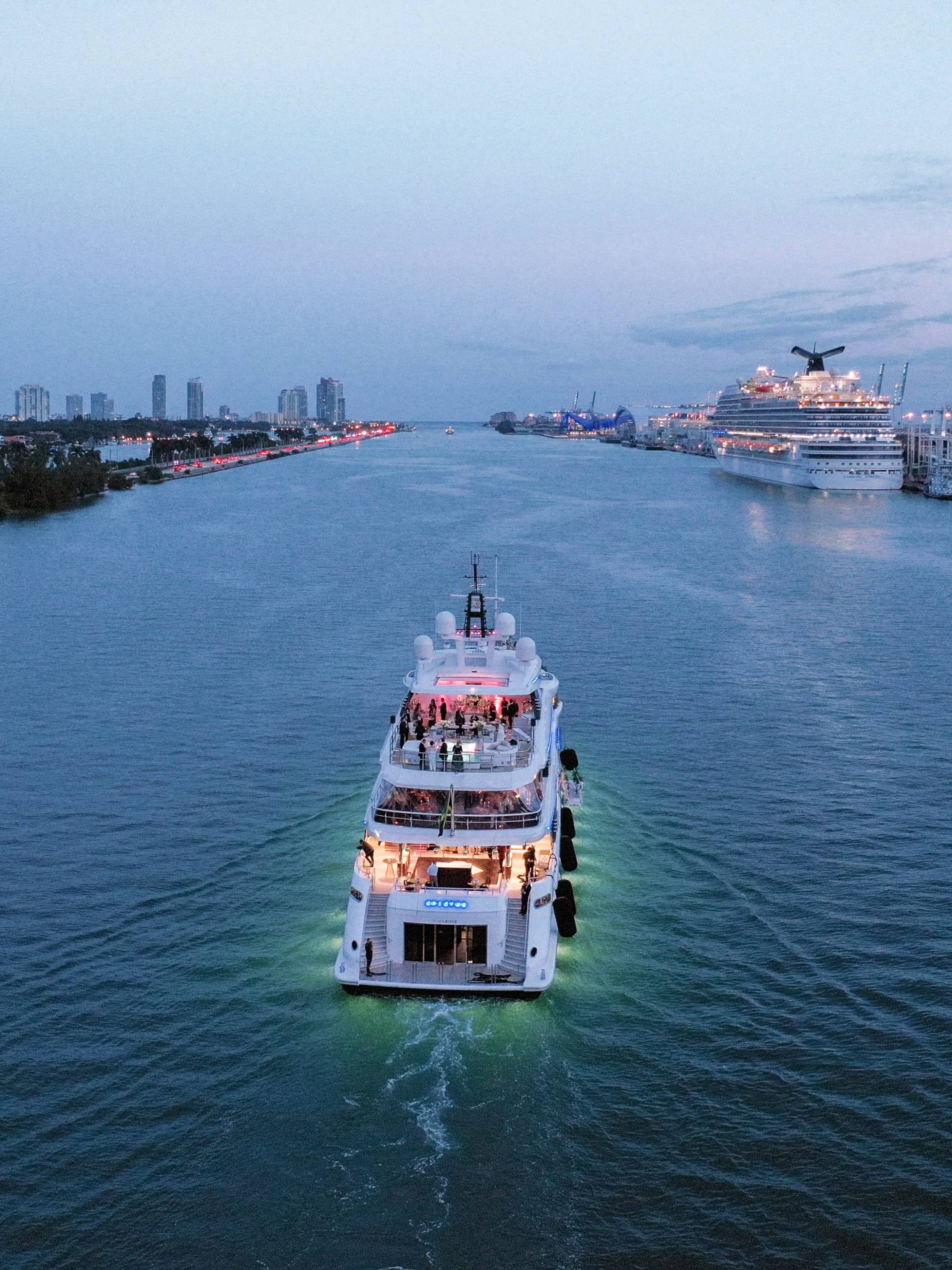 Cruising Miami at this Miami yacht wedding | Photo by Corbin Gurkin