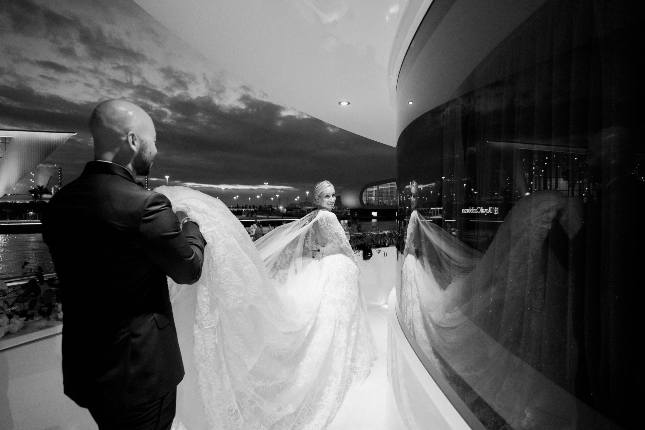 Bride and groom at this Miami yacht wedding | Photo by Corbin Gurkin