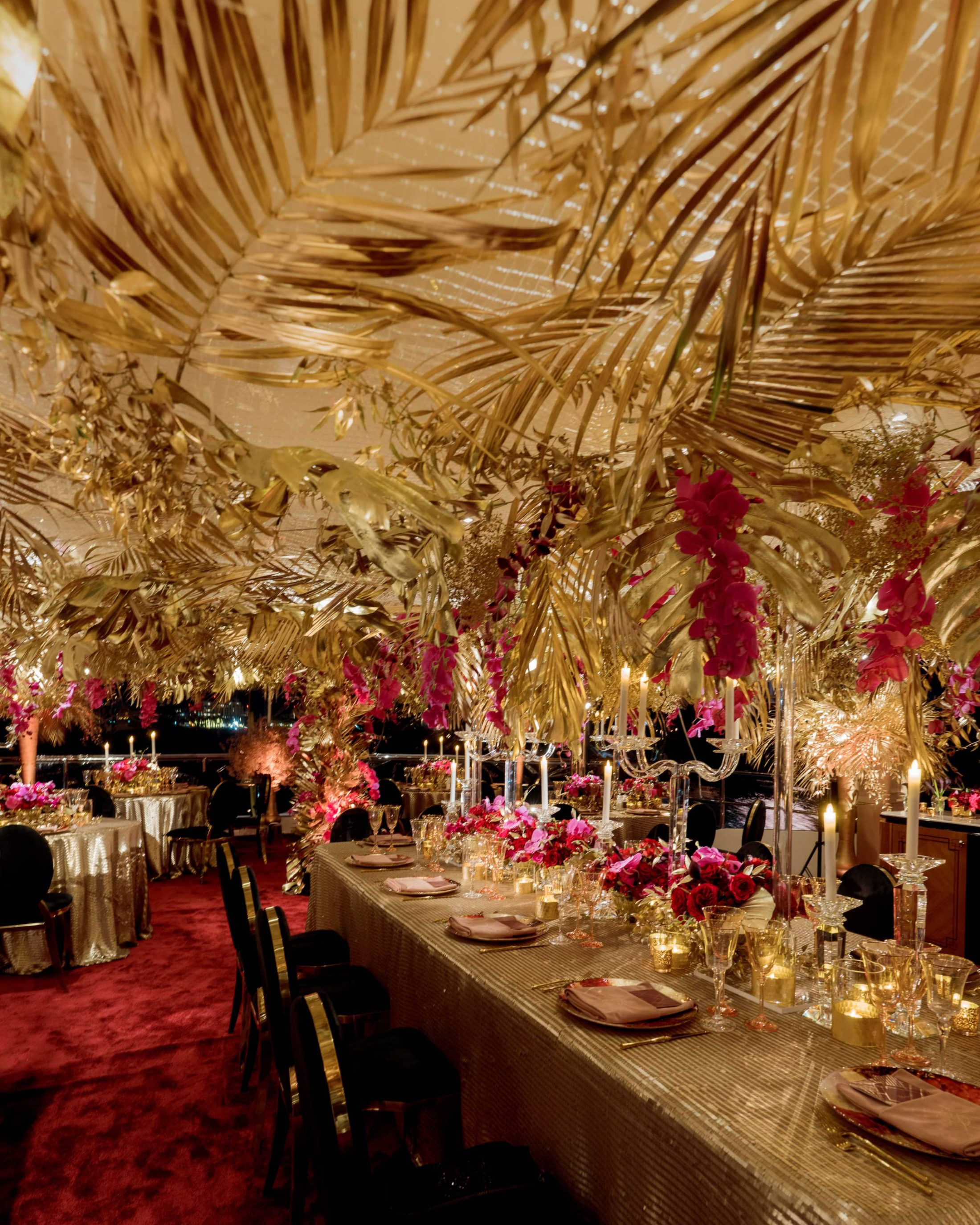 Glamorous, gold reception at this Miami yacht wedding | Photo by Corbin Gurkin