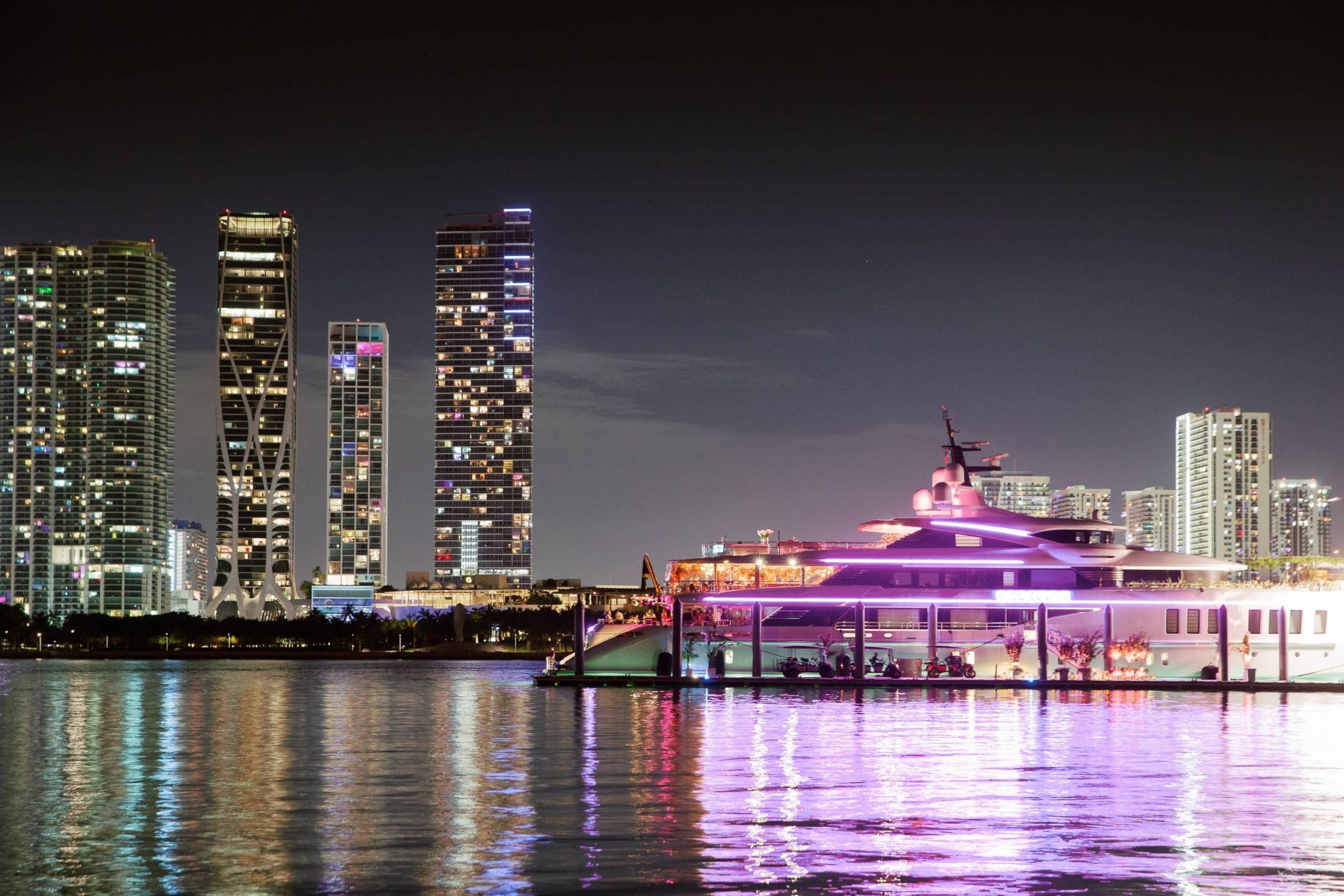 Night views at this Miami yacht wedding | Photo by Corbin Gurkin