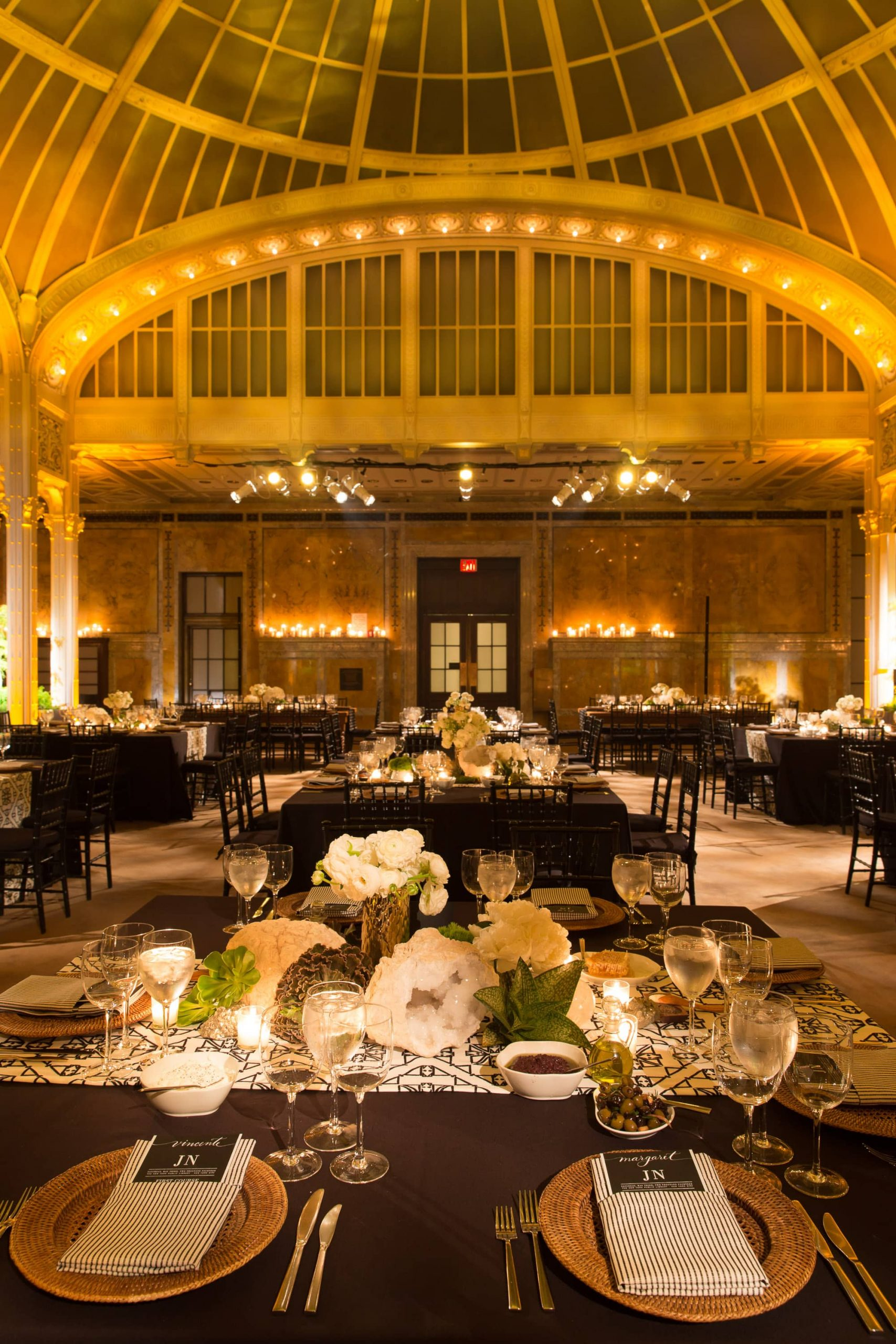 Table and reception at this New York Public Library wedding | Photo by Genevieve de Manio