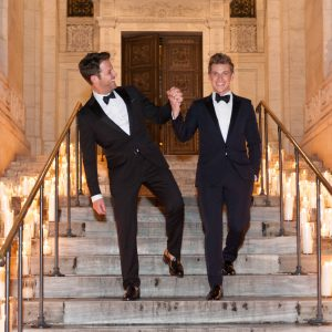 Grooms at this New York Public Library wedding | Photo by Genevieve de Manio