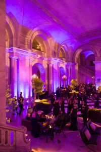 Pink-hued reception at this New York Public Library wedding | Photo by Genevieve de Manio