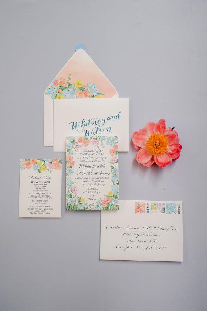 Bright wedding stationery at Sea Island Wedding in Georgia, USA | Photo by Liz Banfield