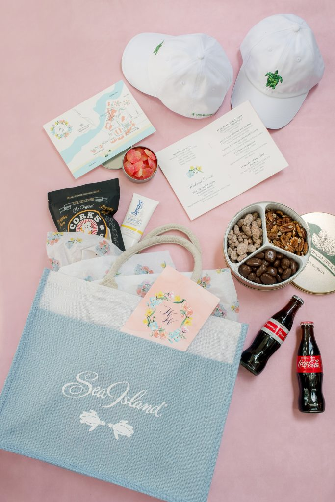 Wedding guest goodie bag at this Sea Island Wedding in Georgia, USA | Photo by Liz Banfield