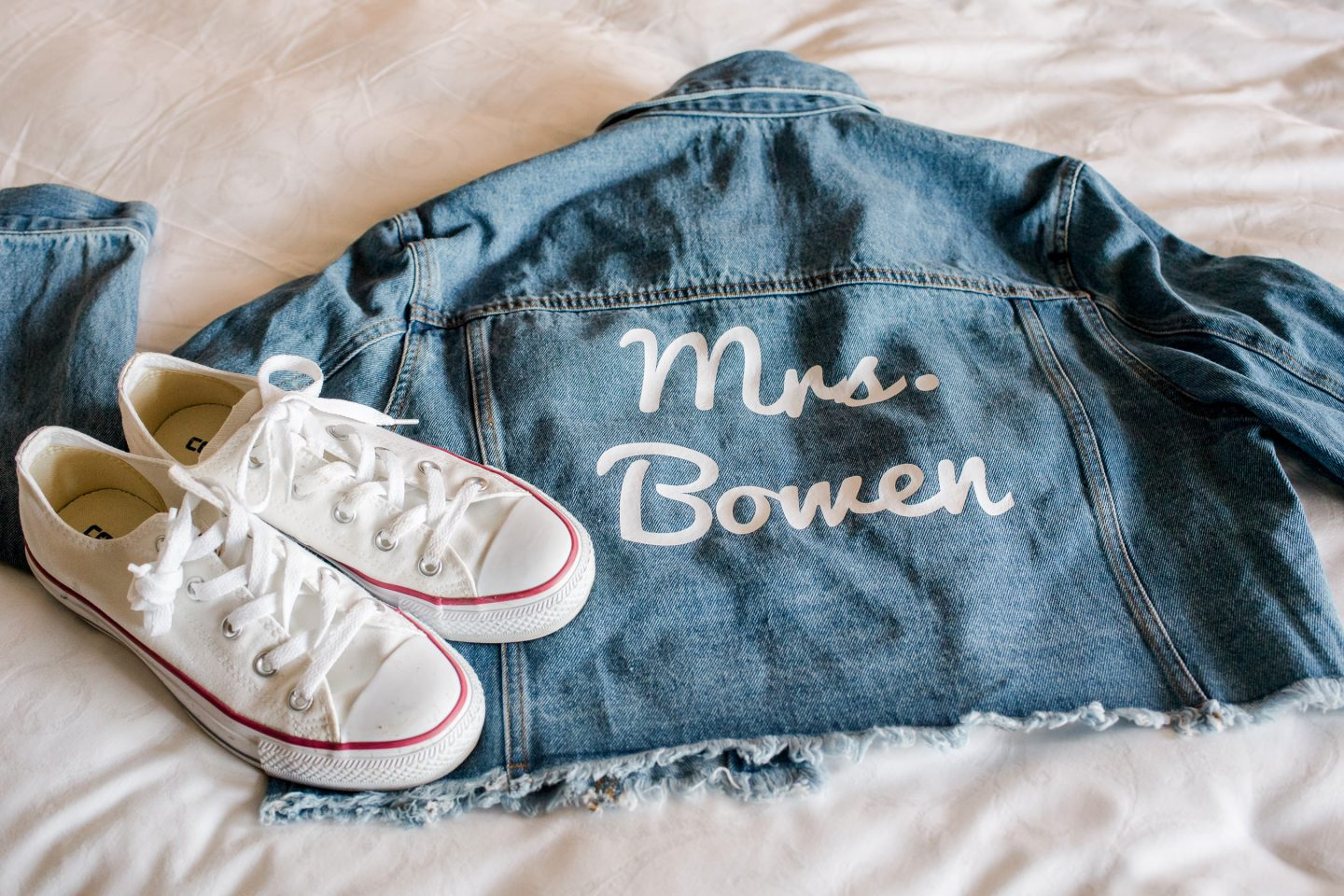 Customized bride jean jacket at this Sea Island wedding weekend in Georgia, USA | Photo by Liz Banfield