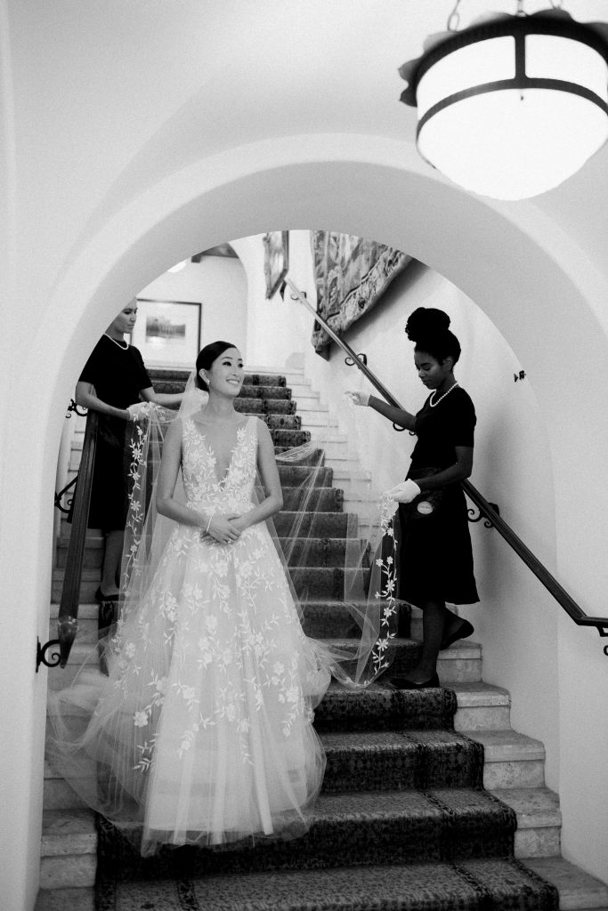 Bridal entrance at The Cloister wedding ceremony at this Sea Island wedding weekend in Georgia, USA | Photo by Liz Banfield