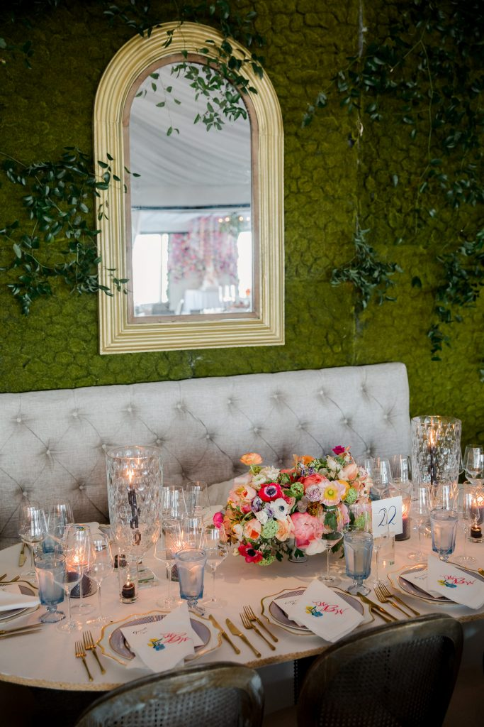 Table decor at this tent turned ballroom reception at this Sea Island wedding weekend in Georgia, USA | Photo by Liz Banfield