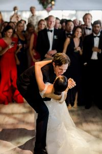 First dance at this tent turned ballroom reception at this Sea Island wedding weekend in Georgia, USA | Photo by Liz Banfield