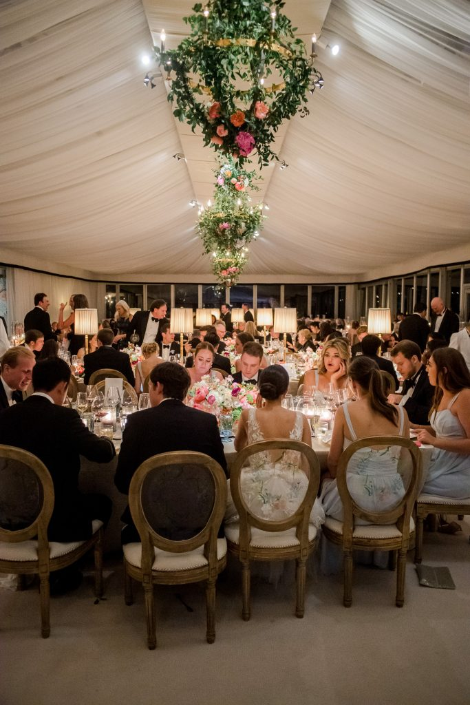Dinner at this tented reception at this Sea Island wedding weekend in Georgia, USA | Photo by Liz Banfield