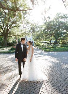 Wedding couple at this Sea Island wedding weekend in Georgia, USA | Photo by Liz Banfield