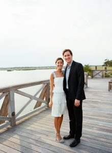 Newlyweds during Sunday send off brunch at this Sea Island wedding weekend in Georgia, USA | Photo by Liz Banfield