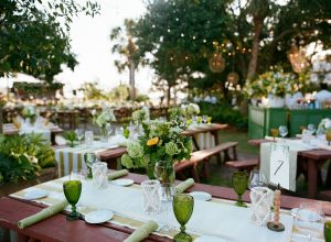 Welcome BBQ party under twinkle lights at Rainbow Island at this Sea Island wedding weekend in Georgia, USA | Photo by Liz Banfield