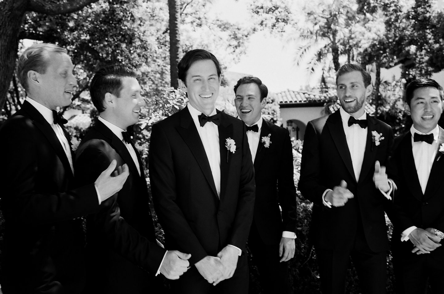 Groom and groomsmen at this Sea Island wedding weekend in Georgia, USA | Photo by Liz Banfield
