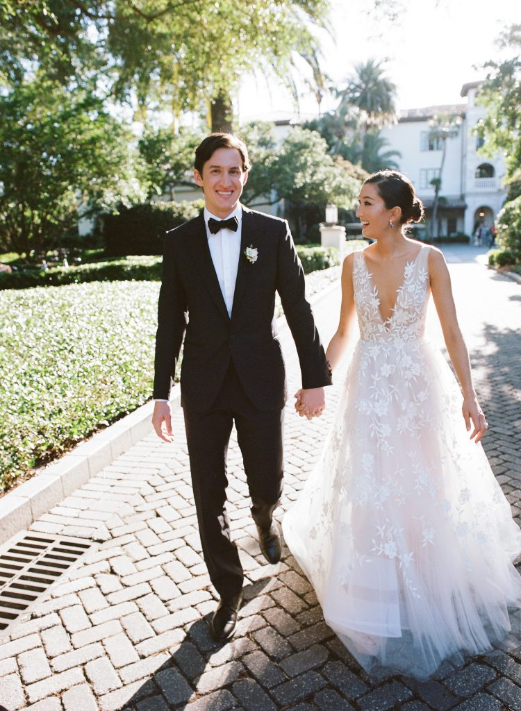 The wedding couple at this Sea Island wedding weekend in Georgia, USA | Photo by Liz Banfield